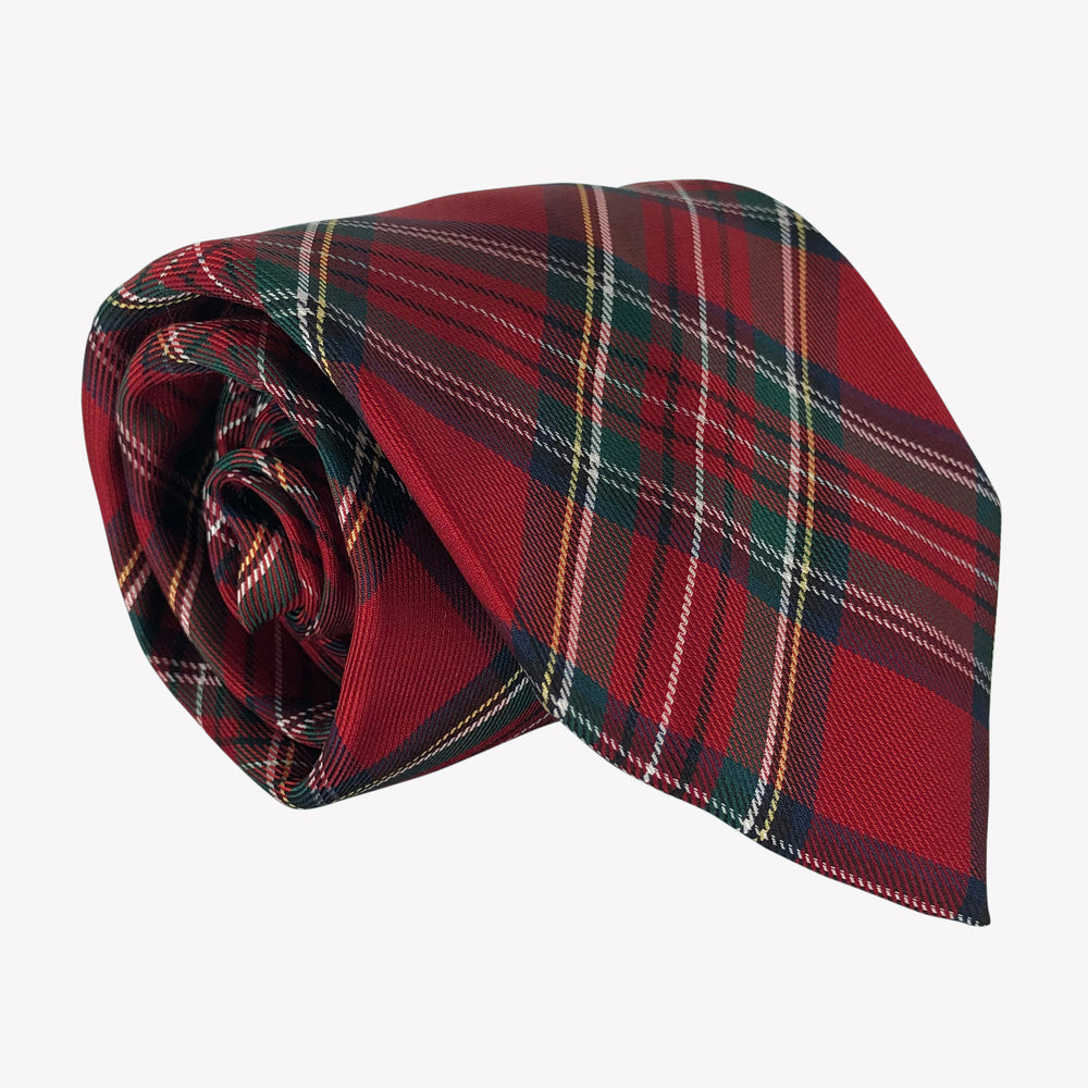 Red Tartan Patterned Tie