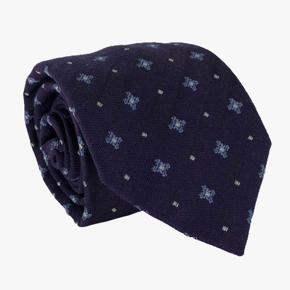 Navy Blue Patterned Tie