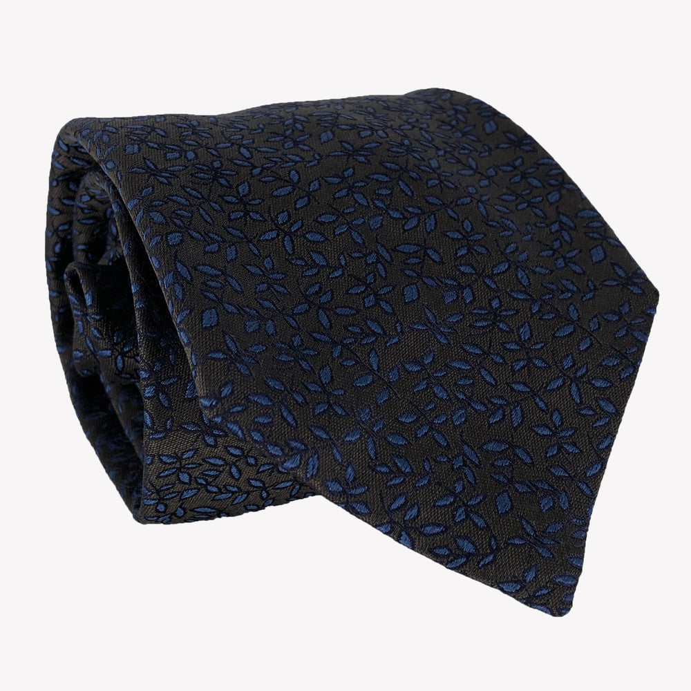 Onyx Black Tie with Navy Blue Flower Pattern