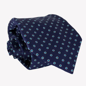 Navy Blue Tie with Turquoise Dots