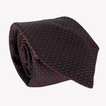 Chocolate Brown Tie with Red Microdot Details