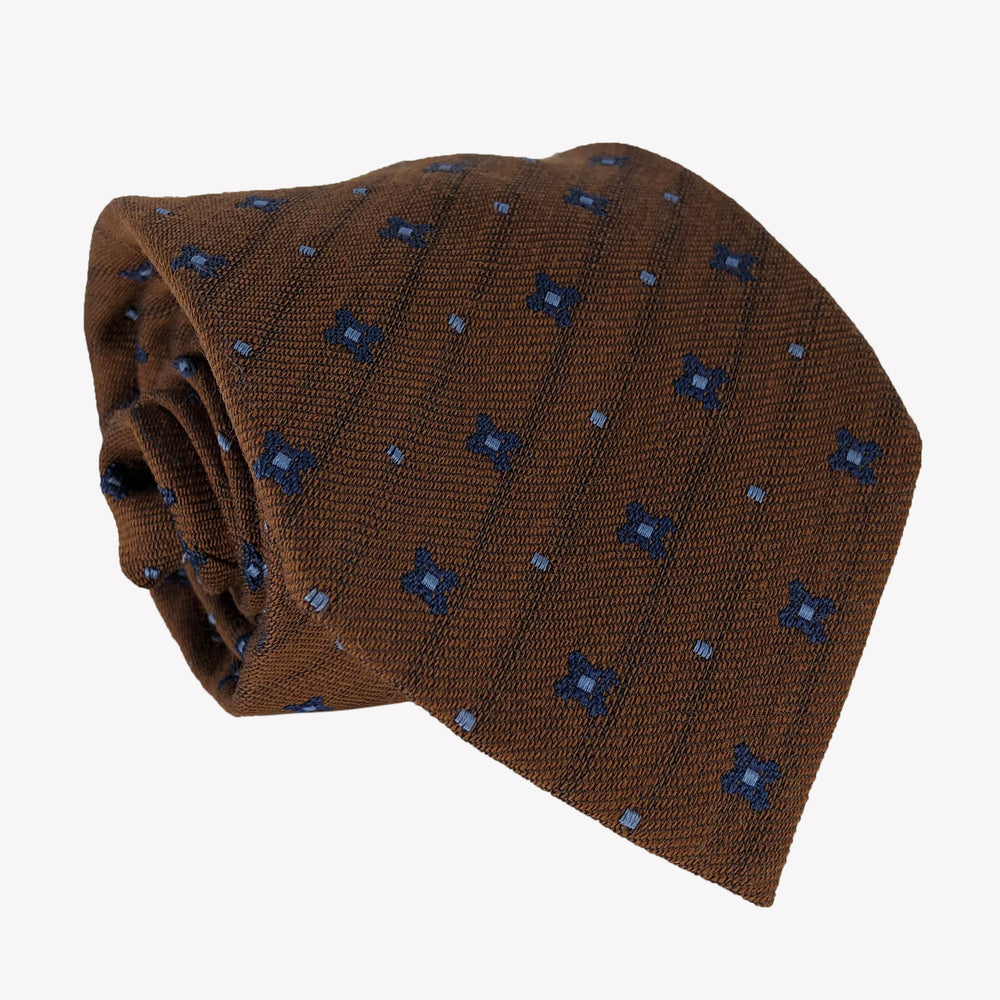 Chocolate Brown Tie with Navy Blue Flowers