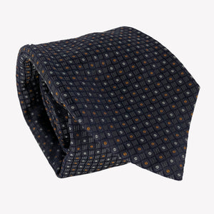 Navy Blue Tie with White and Copper Microdots