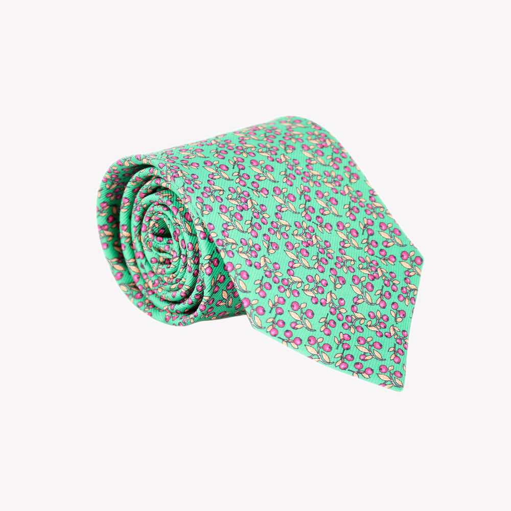 Light Green with Red Berries Tie
