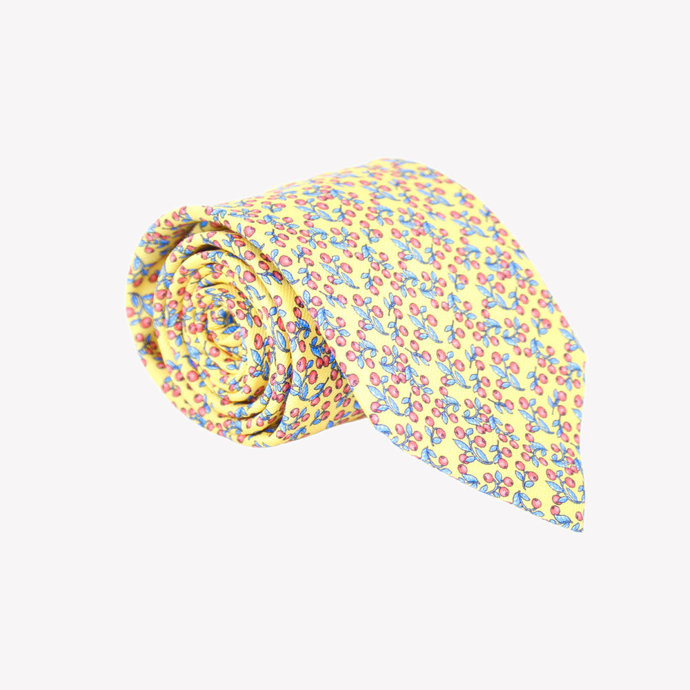 Yellow with Red Berries Tie