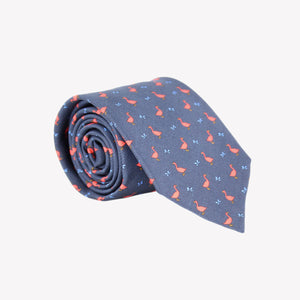 Navy with Red Geese and Blue Butterflies Tie