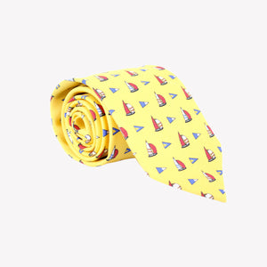 Yellow with Sail Boats Tie