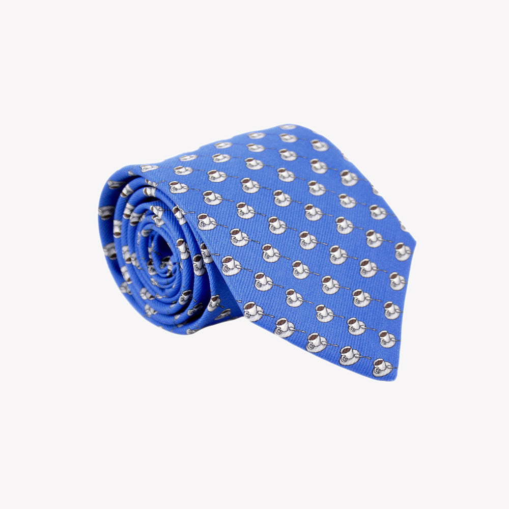 Blue with Coffee Cups Tie