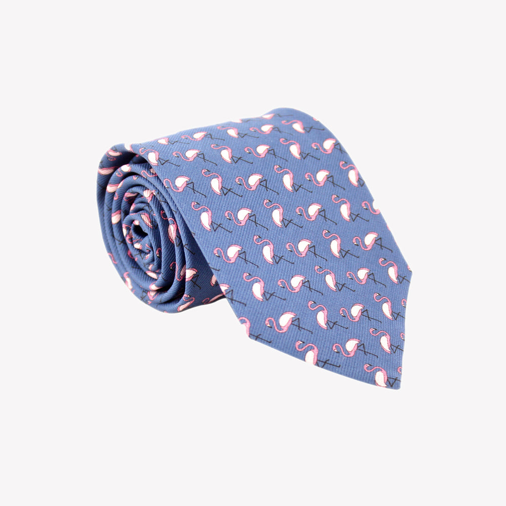 Blue with Pink Flamingos Tie