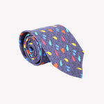Blue with Color Fish Tie