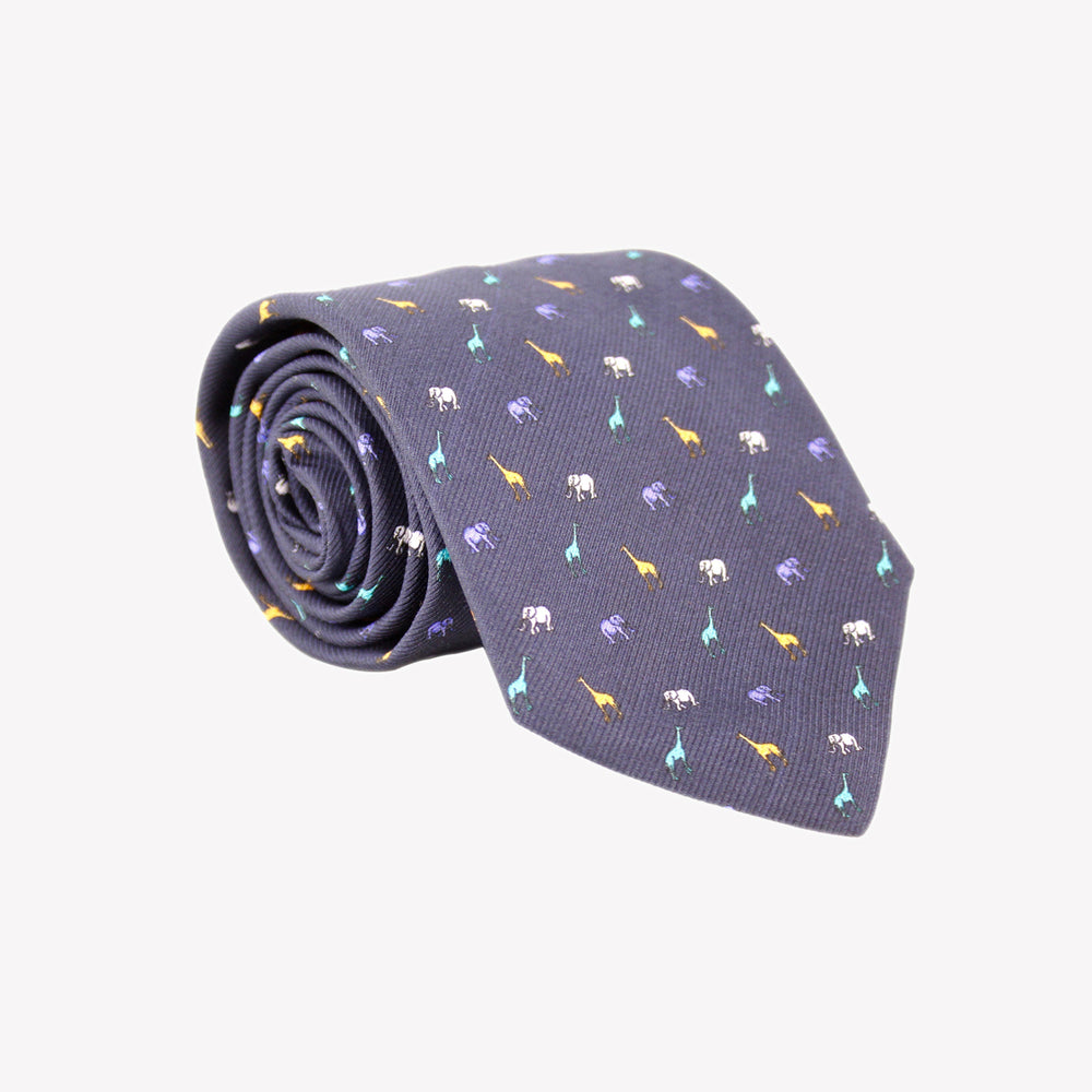 Navy with Giraffes and Elephants Tie