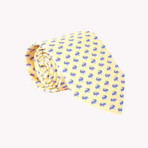 Yellow with Blue Cars Tie