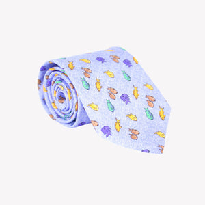 Sky Blue with Multi-Color Fish Tie