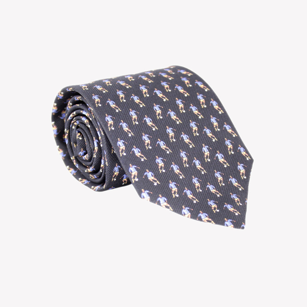 Black with Blue Soccer Players Tie