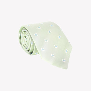 Light Green with White and Light Blue Square Tie