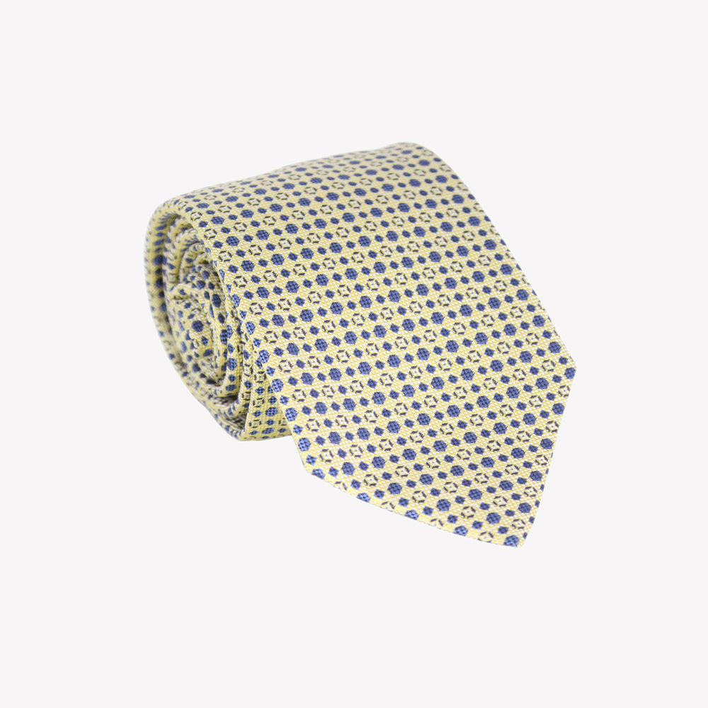 Yellow and Blue Diamond Pattern Tie