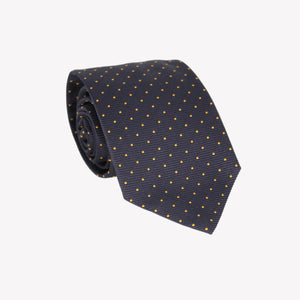 Navy Blue with Yellow Polka Dot Tie