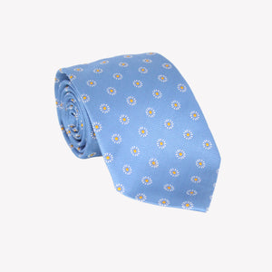 Light Blue with White Flowers With Yellow Center Tie