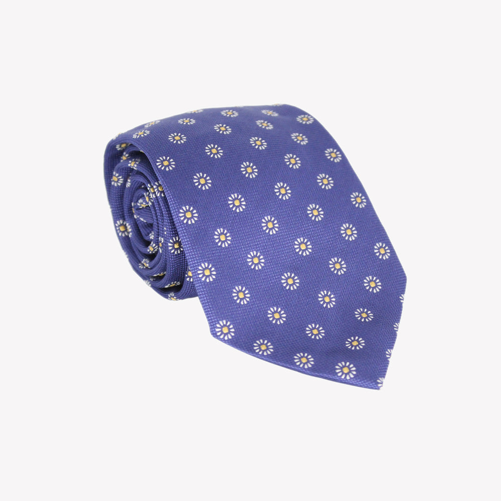 Blue with Circle Flowers Tie
