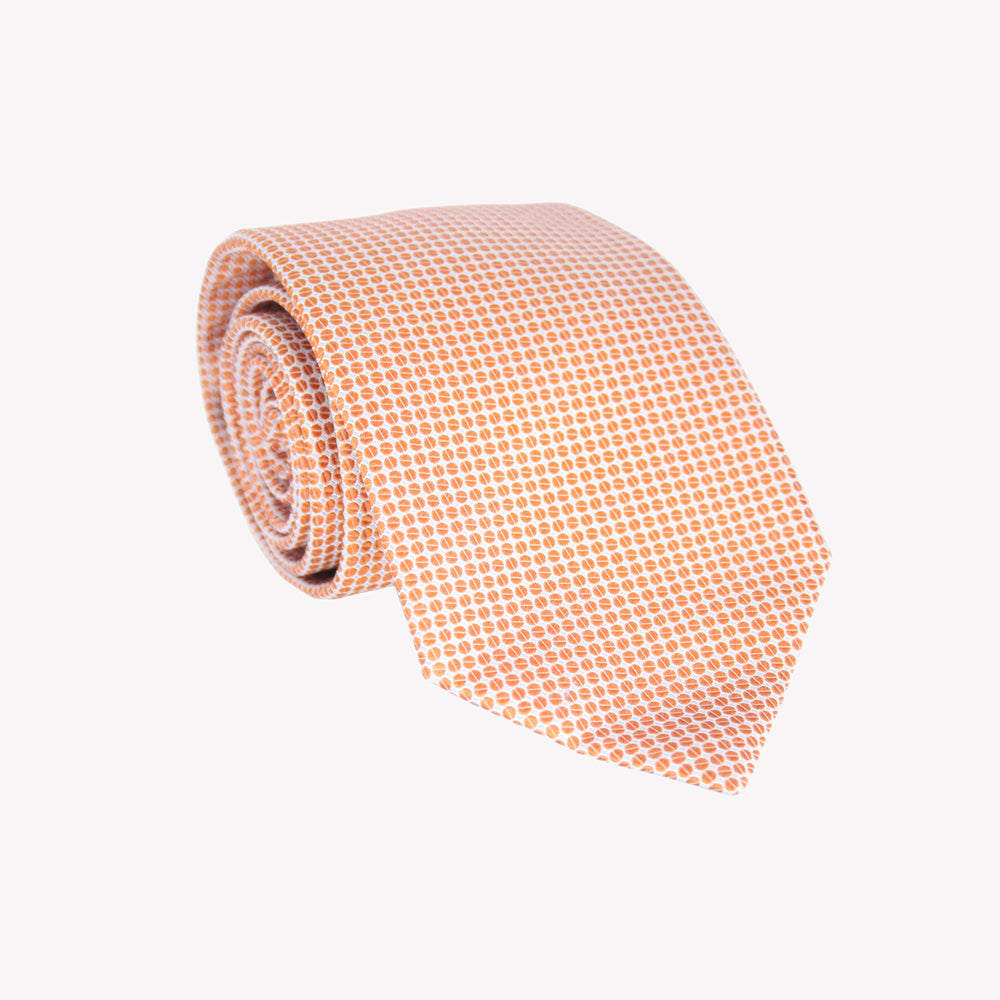 White with Orange Circles Tie