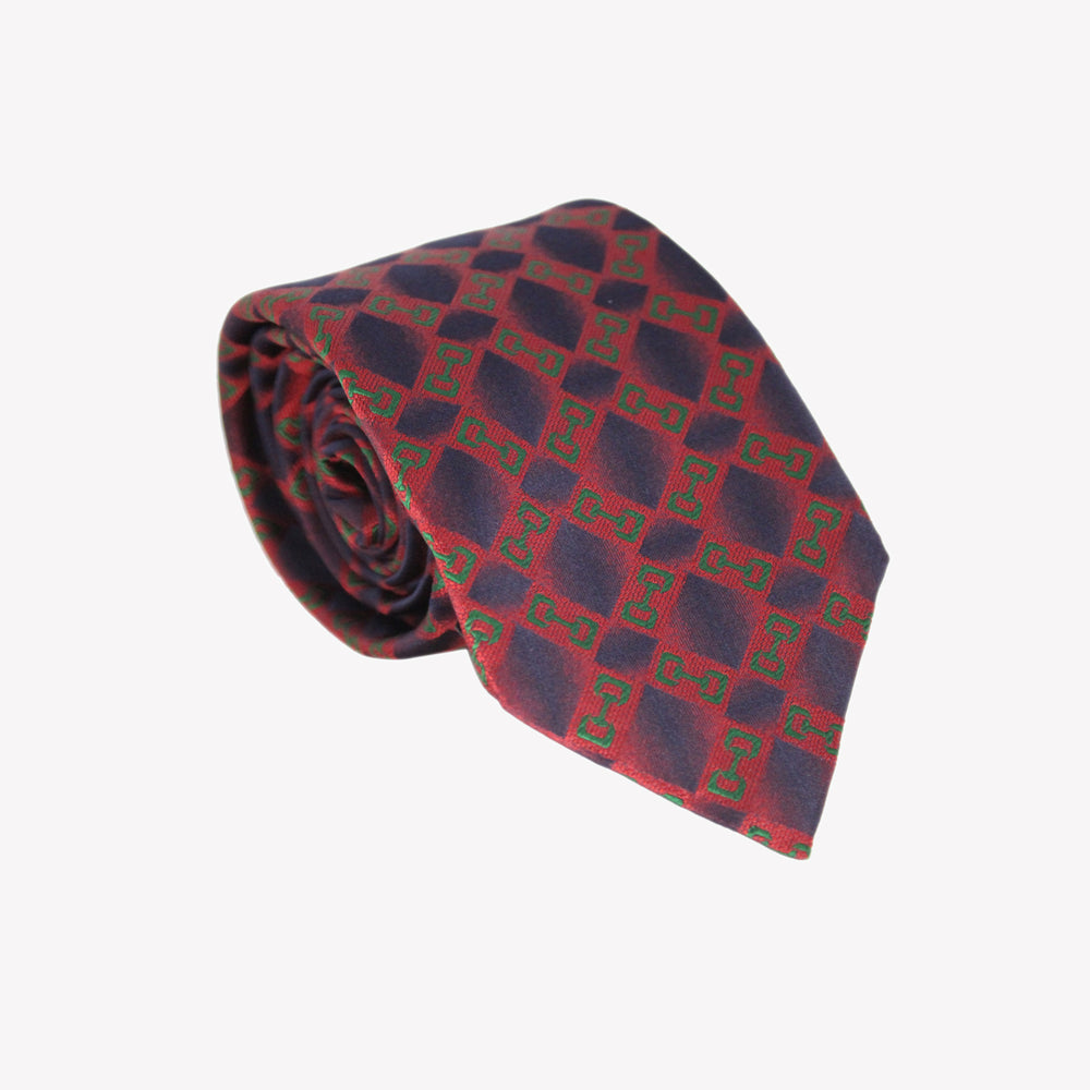 Dark Red with Blue Diamond Tie
