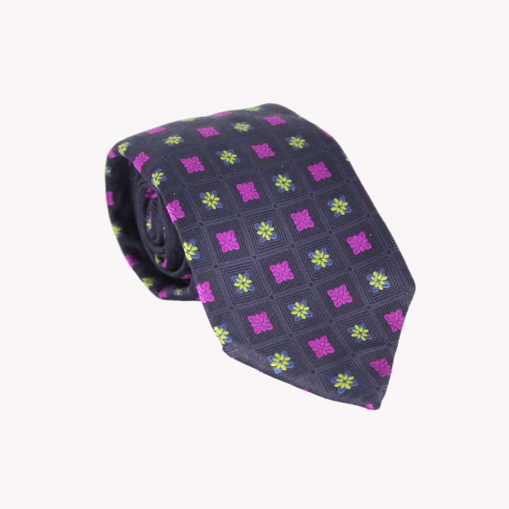 Black with Purple, Yellow and Blue Square Tie