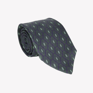 Navy with Dark Green Diamond Shape Tie