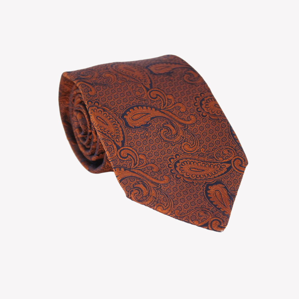 Fiery Orange Paisley Tie