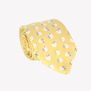 Yellow with White Flowers Tie