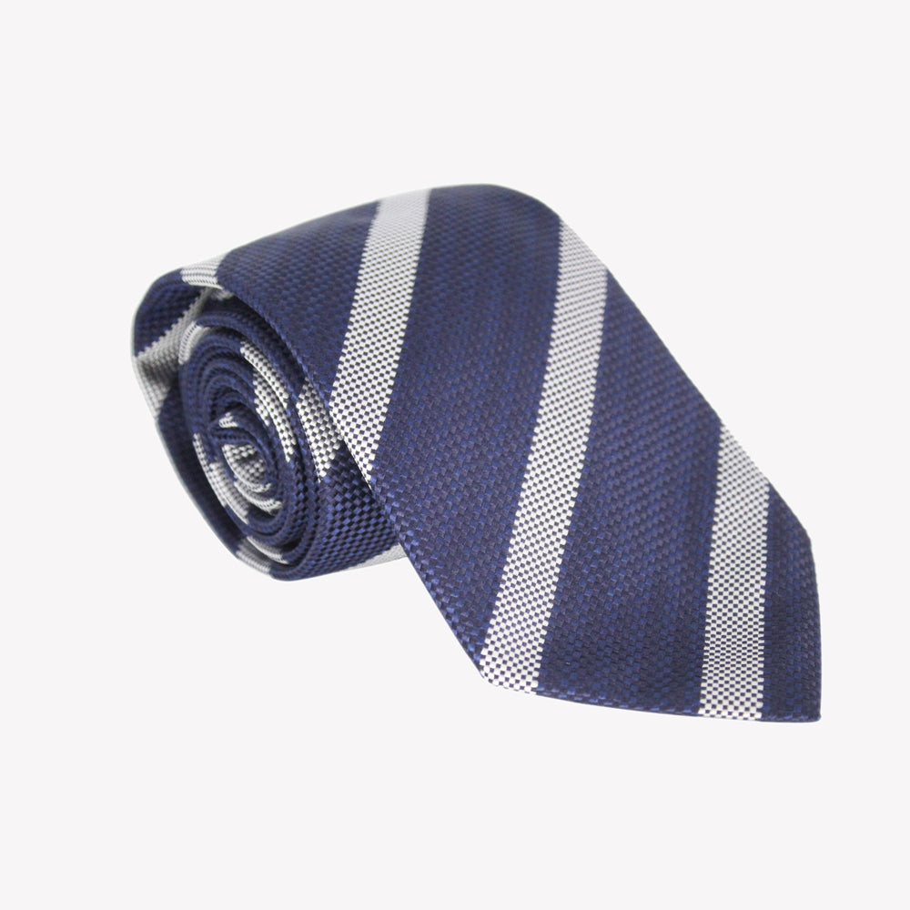 Dark Blue with White Stripe Tie