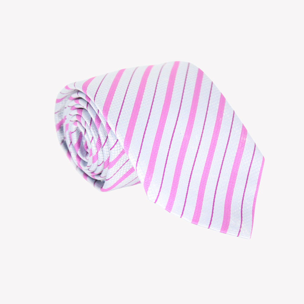 White with Pink Striped Tie
