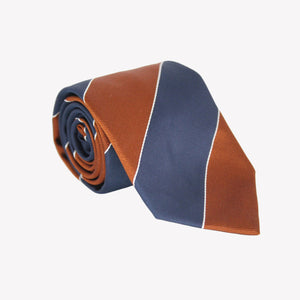 Dark Orange with Navy Striped Tie
