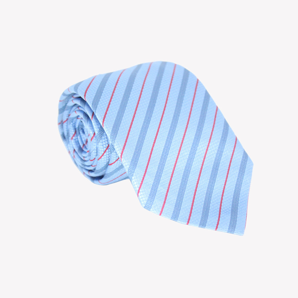 Aqua Blue with Red Striped Tie