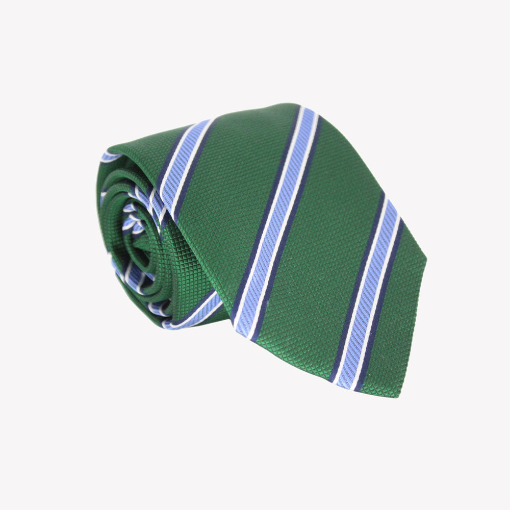 Green with Light Blue Stripe Tie