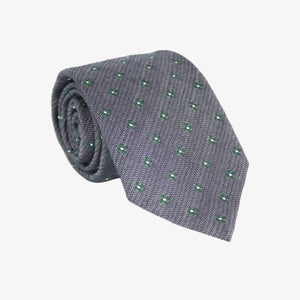 Grey with Green and White Flower Tie