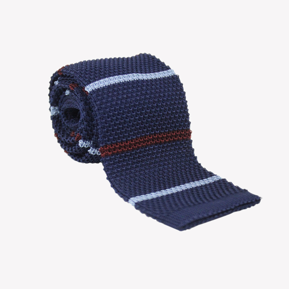 Blue with White and Red Stripe Knit Tie