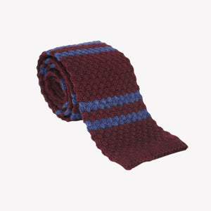 Burgundy with Blue Stripe Knit Tie