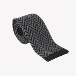 Black and White Wavy Knit Tie
