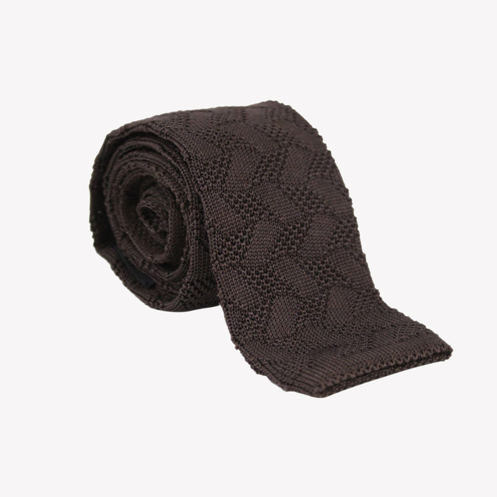 Brown Knit Tie