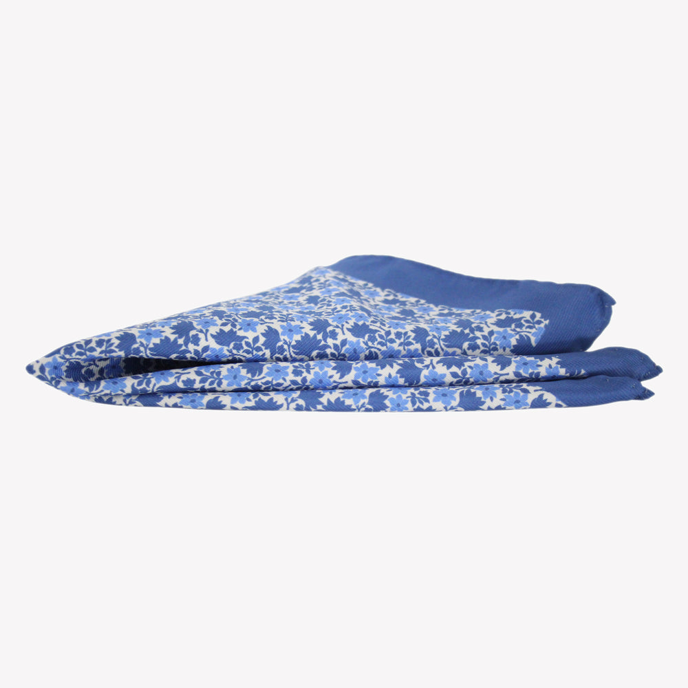 Blue with Flowers Pocket Square