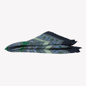 Navy with Green Pocket Square