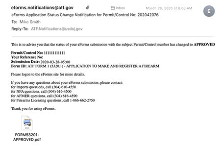 ATF eForm 1 Approved Tax Stamp is not Visible on Phone Error