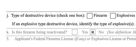 ATF eForm 1 Box 4j is Unchecked on approved ATF eForm 1