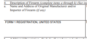 Approved ATF eForm 1 Form 1 Registration - FORM 1 REGISTRATION, UNITED STATES