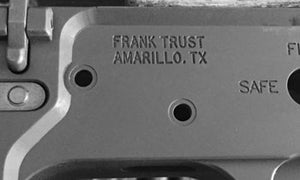 Misspelled Trust Engraving or Individual Engraving for you Silencer or SBR