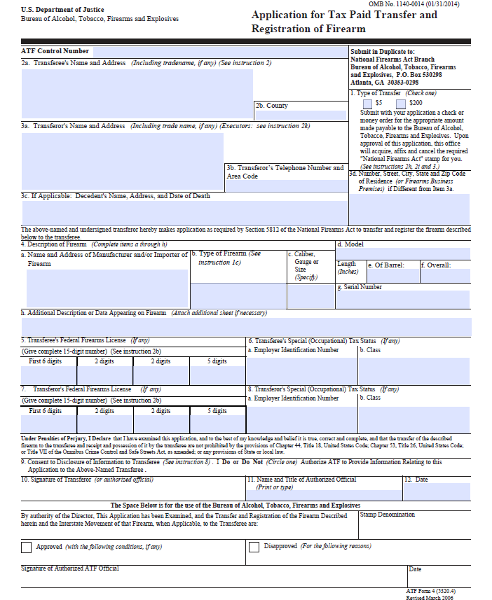 Download Fillable Pdf Atf Form 4 National Gun Trusts