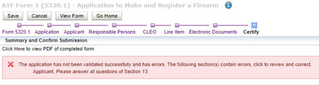 eForm 1 Individual Submission Error - Select FFL Drop Down is Highlighted