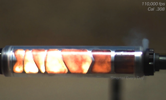 See Through Suppressor in Super Slow Motion (110,000 fps)