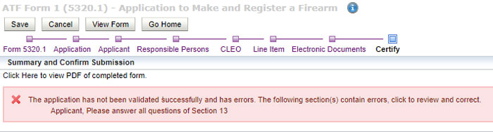 ATF eForm 1 Applicant Error