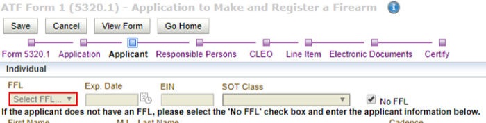 ATF eForm1 red box ffl drop down error